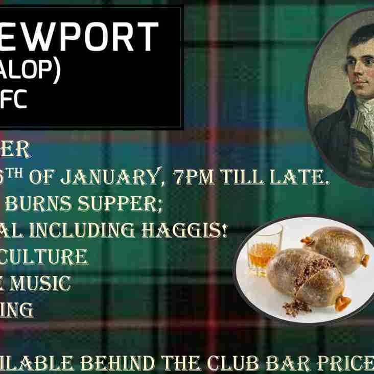 Burns Supper - 26th January -Traditional 3 course Meal with Haggis Live Music