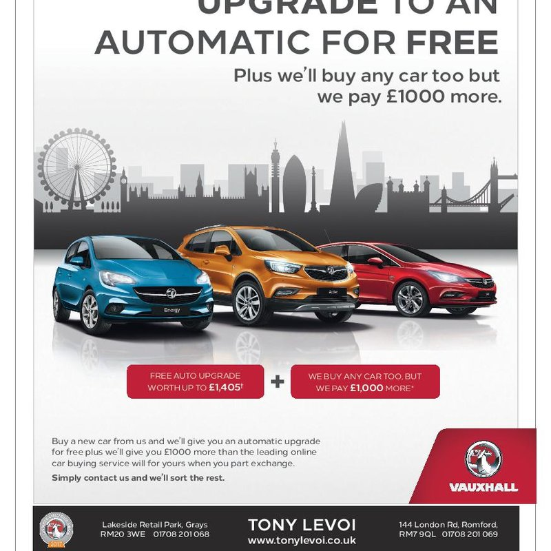 "A Great Offer from our Sponsor "" Tony Levoi "" Vauxhall Dealer"