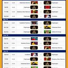 NCL Fixtures 2016