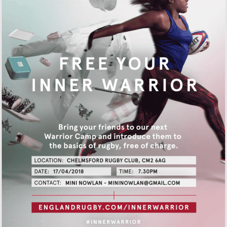 THE RFU AND CHELMSFORD RUGBY CLUB INVITE LADIES AND GIRLS TO THE LATEST INNER WARRIOR EVENT