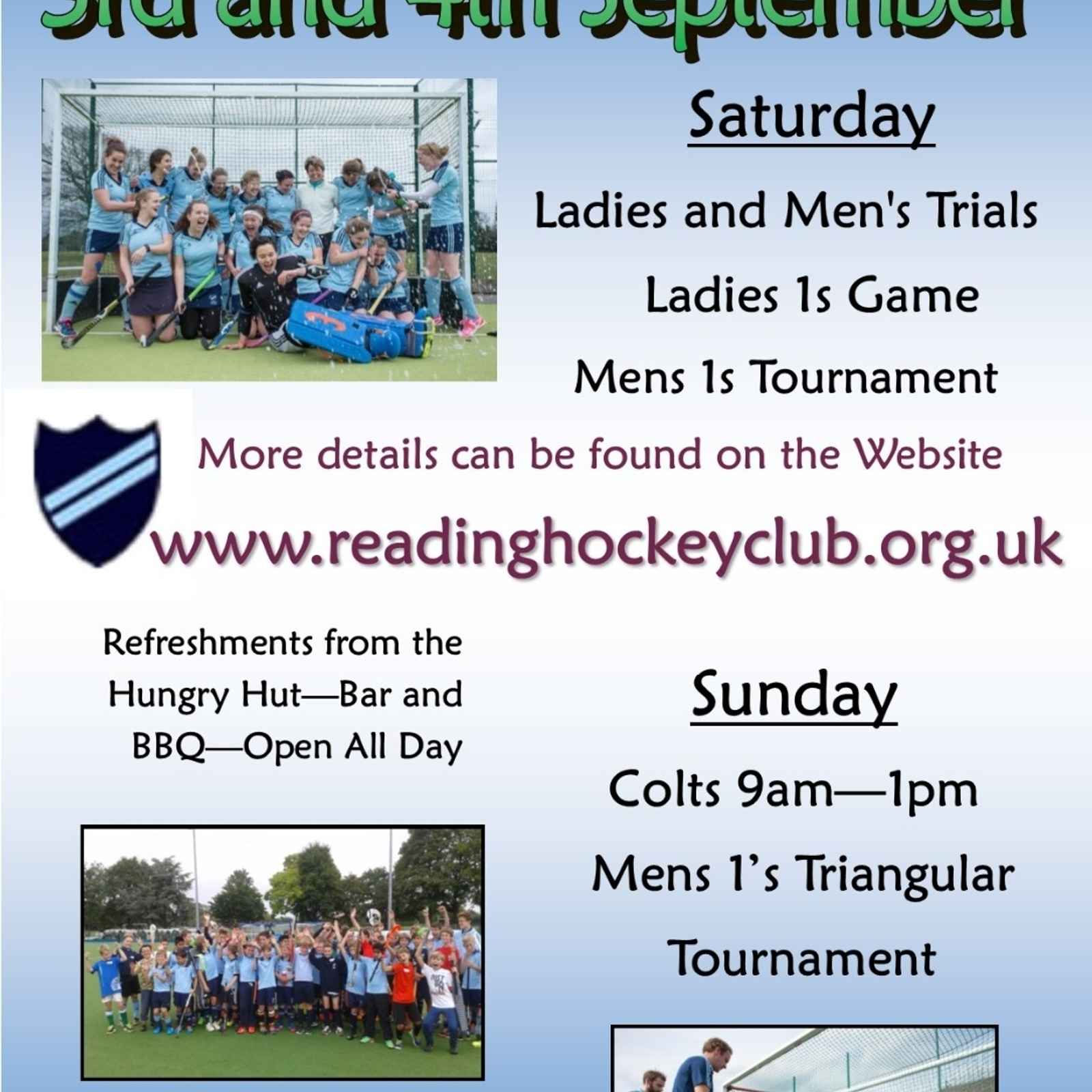 Club Weekend 3rd and 4th Sept
