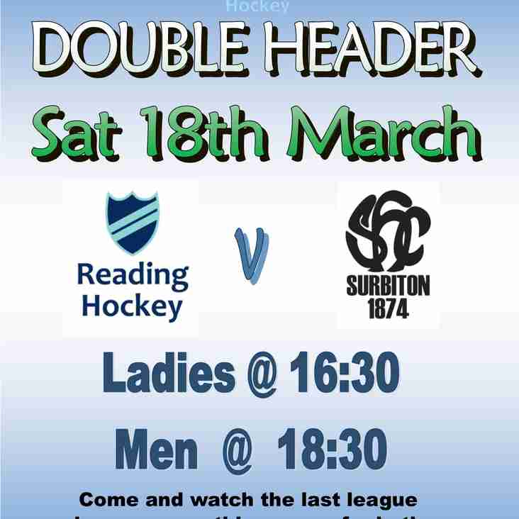 Double Header v Surbiton 18th March