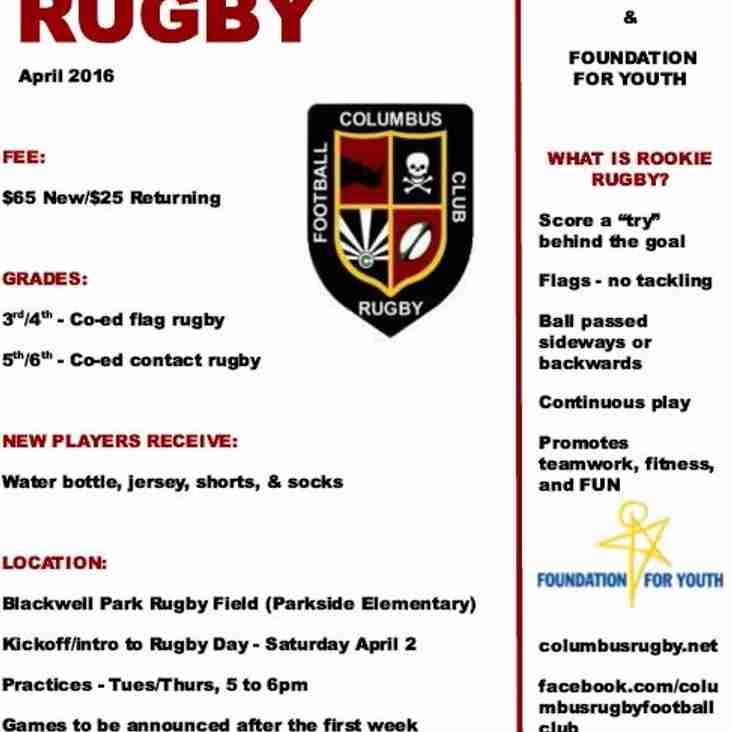 Rookie Rugby Spring 2016