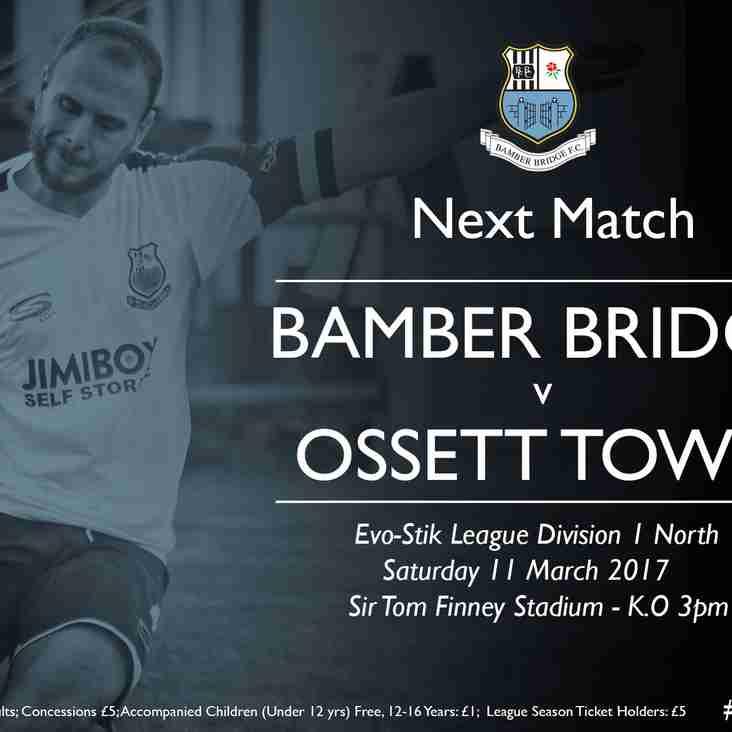 FIXTURE NEWS: Ossett Town Match Rescheduled for 11 March 2017