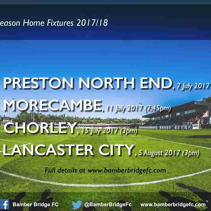 Pre-Season Home Fixtures 2017/18 (Full Details)