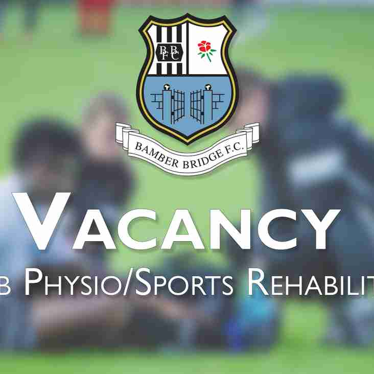 Vacancy: Club Physiotherapist/Sports Rehabilitator