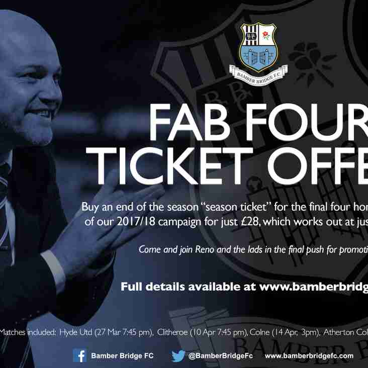 FAB FOUR Ticket Offer.