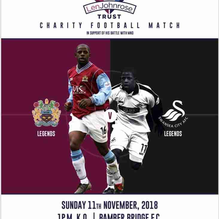 Len Johnrose Trust:  Burnley Legends v Swansea City Legends (Sun 11 November)