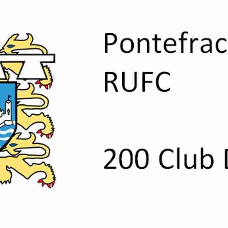 PRUFC Club 200 Draw winners
