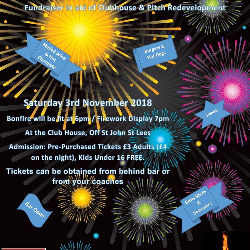Springhead AFC Announce Bonfire & Fireworks Night