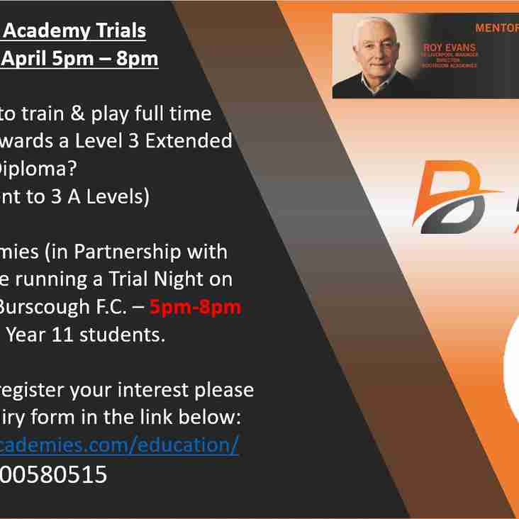 Bootroom Academies Welcome Everyone To Their Football Academy Trials Night