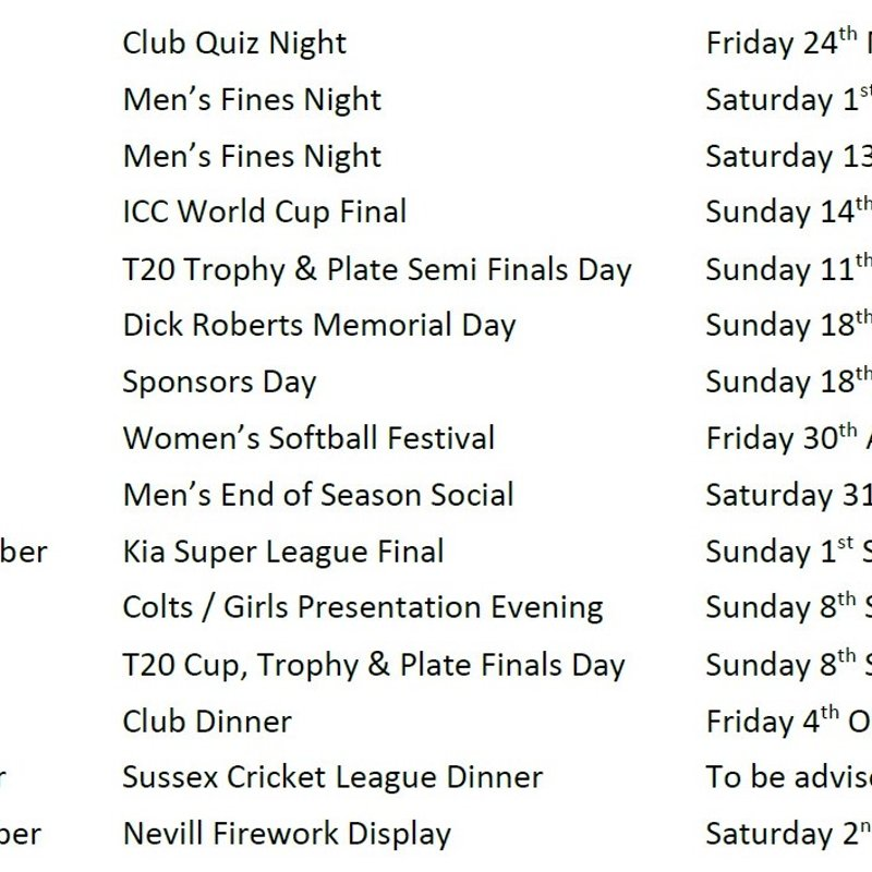 Dates for your Diary - Keep them free