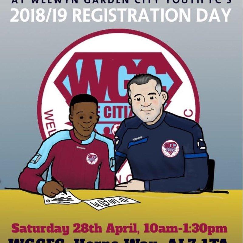 Registration for Welwyn Garden City Youth FC 2018/19 on Saturday 28th April