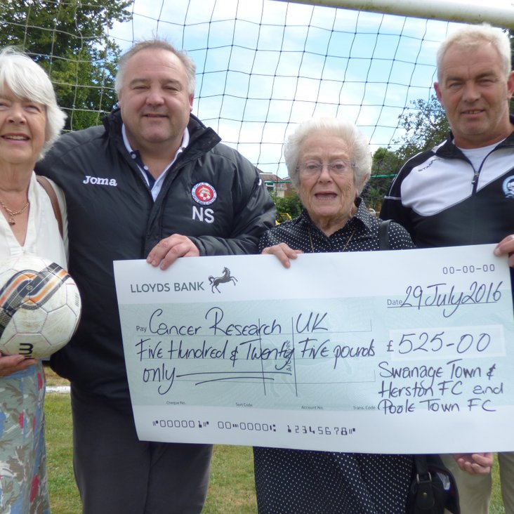Swans &amp; Poole Town Contribute £525 To Cancer Research<