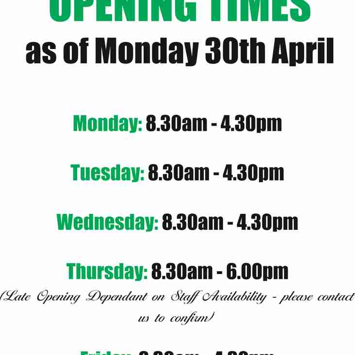 Striptees New Opening times