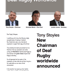Tony Stoyles honoured to head up Deaf Rugby globally