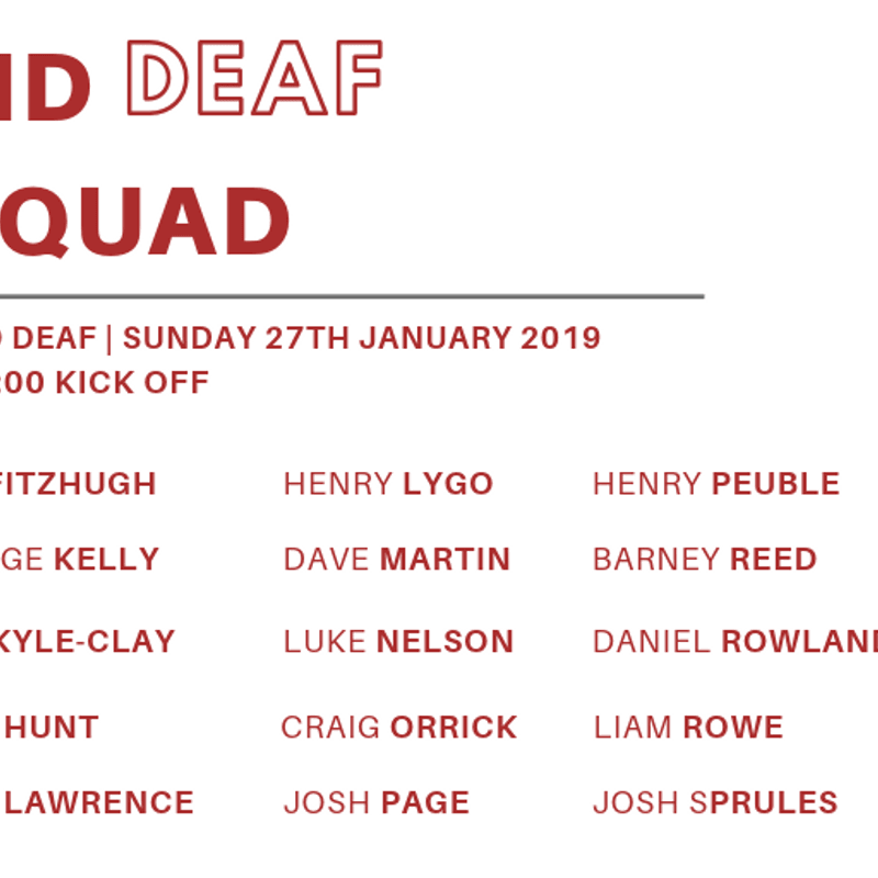 England Deaf name Squad for Broadstreet Cup fixture vs Wales Deaf