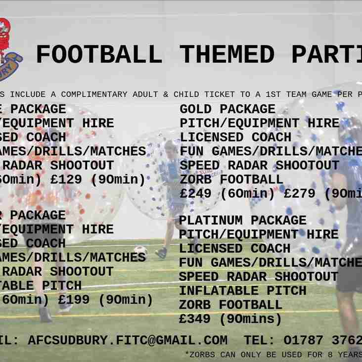 Football Themed Parties At AFC