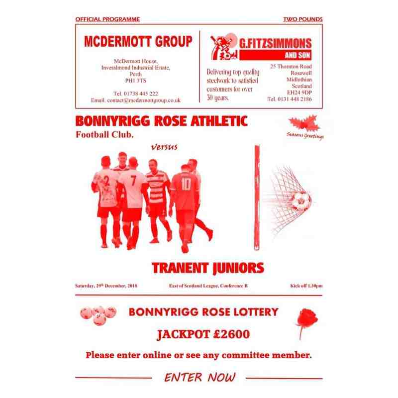 Bonnyrigg Rose Athletic v Tranent Juniors Match Programme