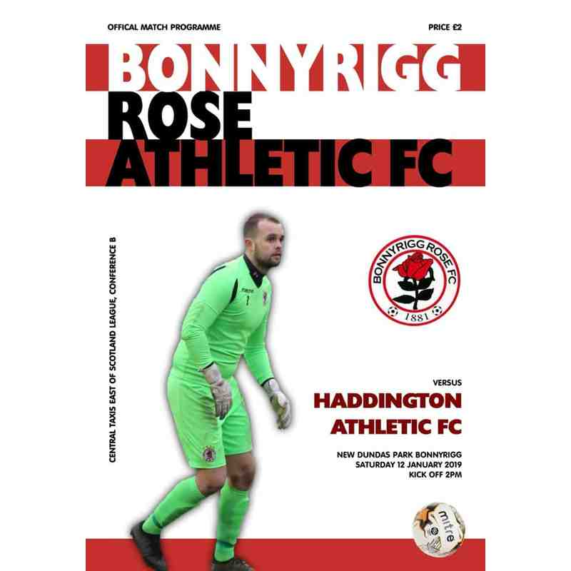 Bonnyrigg Rose Athletic v Haddington Athletic Match Programme