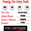 Weekly Lottery Results 19/02/17