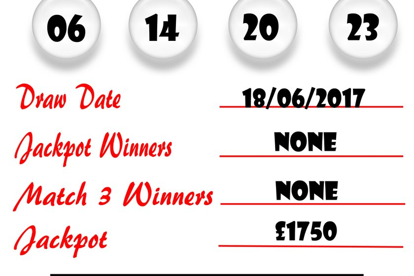 Weekly Lottery Results 18/06/17