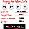 Weekly Lottery Results 09/07/17