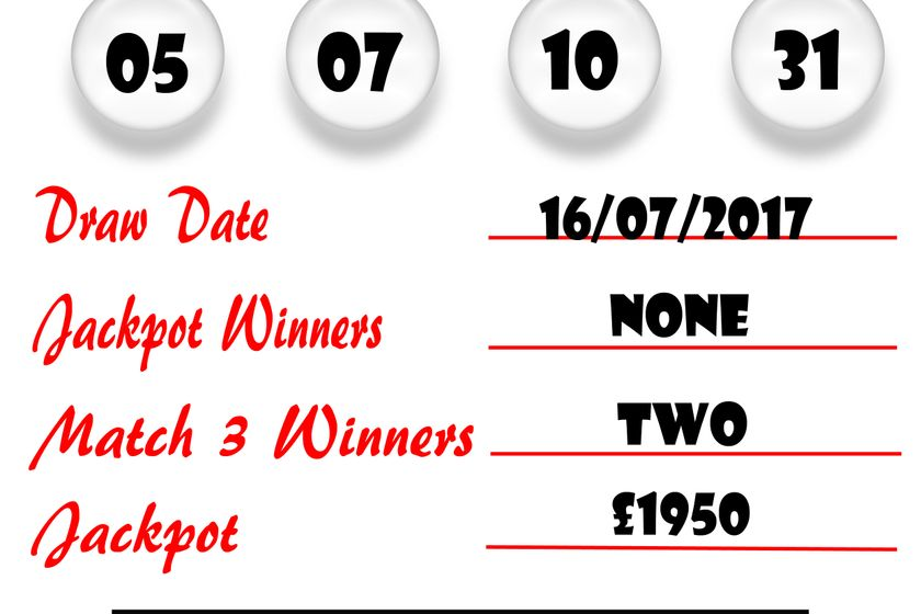 Weekly Lottery Results 16/07/17