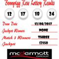 Weekly Lottery Results 13/08/17