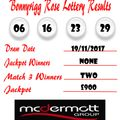 Weekly Lottery Results 19/11/17