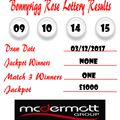 Weekly Lottery Results 03/12/17