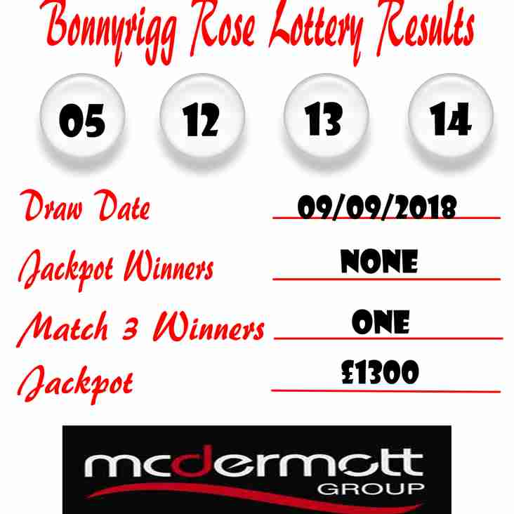 Weekly Lottery Results 09/09/18