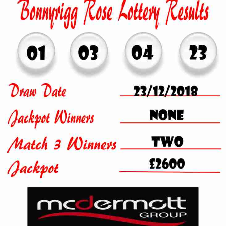 Weekly Lottery Results 23/12/18