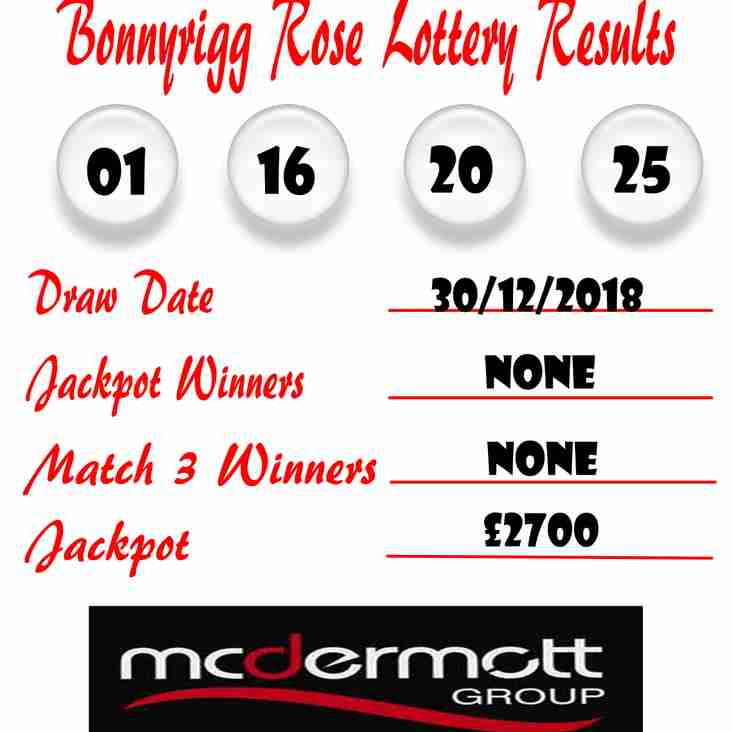 Weekly Lottery Results 30/12/18