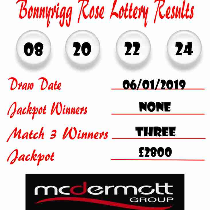 Weekly Lottery Results 06/01/19