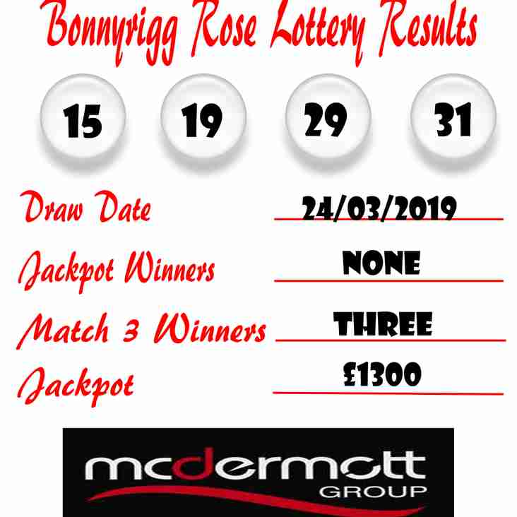 Weekly lottery results 24/03/19