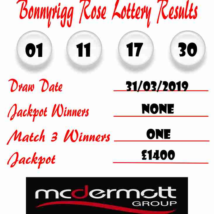 Weekly lottery results 31/03/19