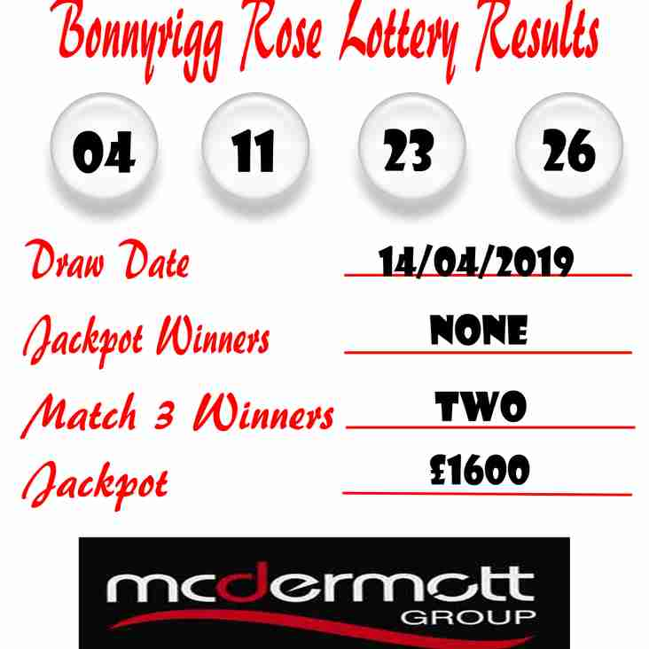 Weekly lottery results 14/04/19
