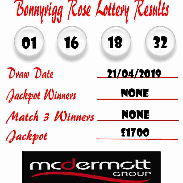 Weekly lottery results 21/04/19
