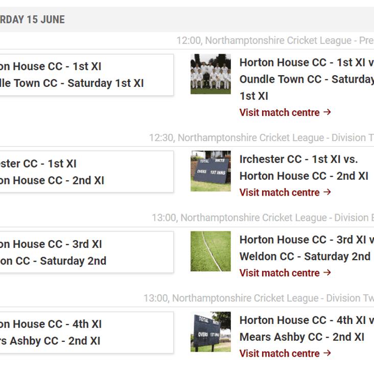 Teams for Saturday 15th June