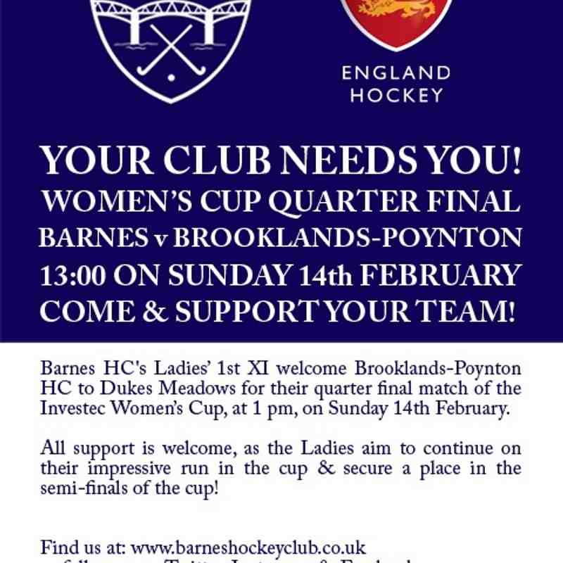 Women's 1s QF England Hockey Cup Match