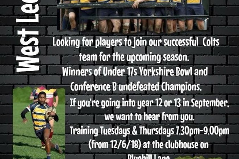 West Leeds Colts are recruiting!