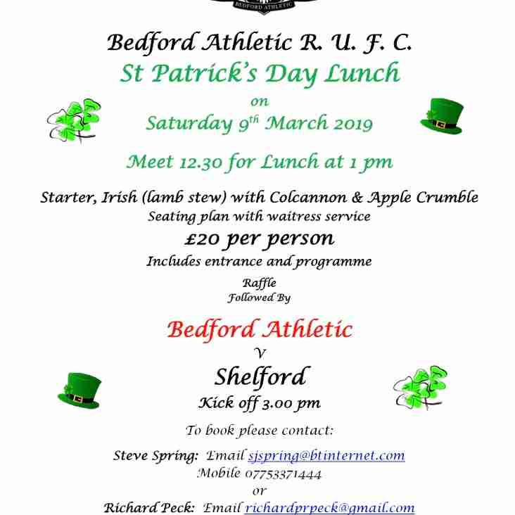 St Patrick's Day Lunch Saturday 9th March
