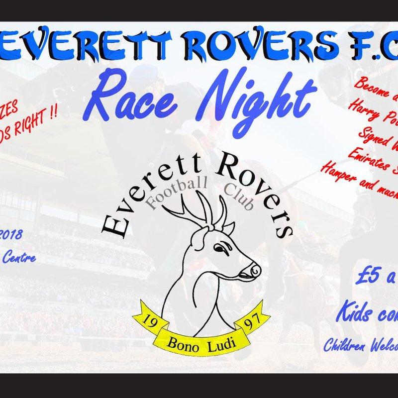 Everett Rovers Race Night- 20th April 2018