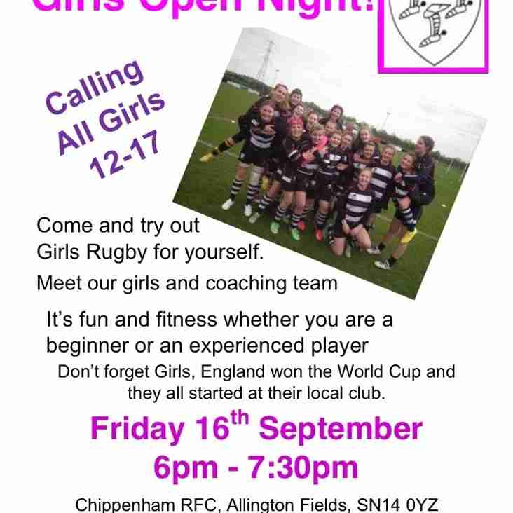 Girls Rugby Open Night - 16th September