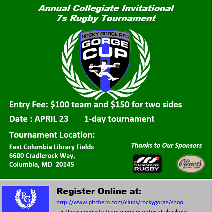 2016 Gorge Cup Collegiate 7s Tournament is April 23rd