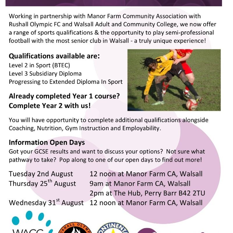 EDUCATION AND SPORTS SCHOLARSHIPS AVAILABLE AT RUSHALL OLYMPIC