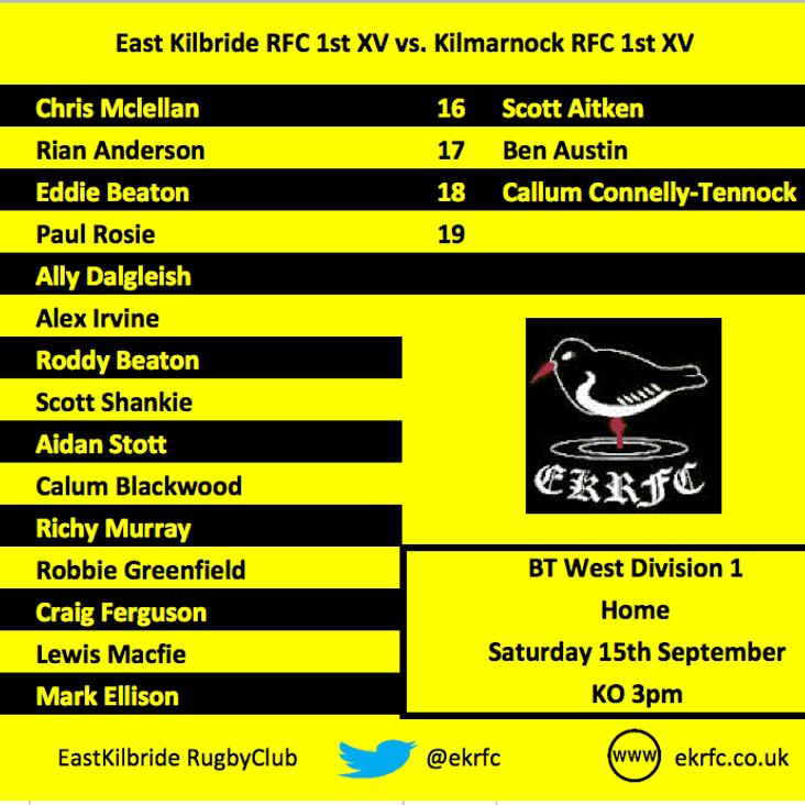 1st XV Team to play Kilmarnock RFC