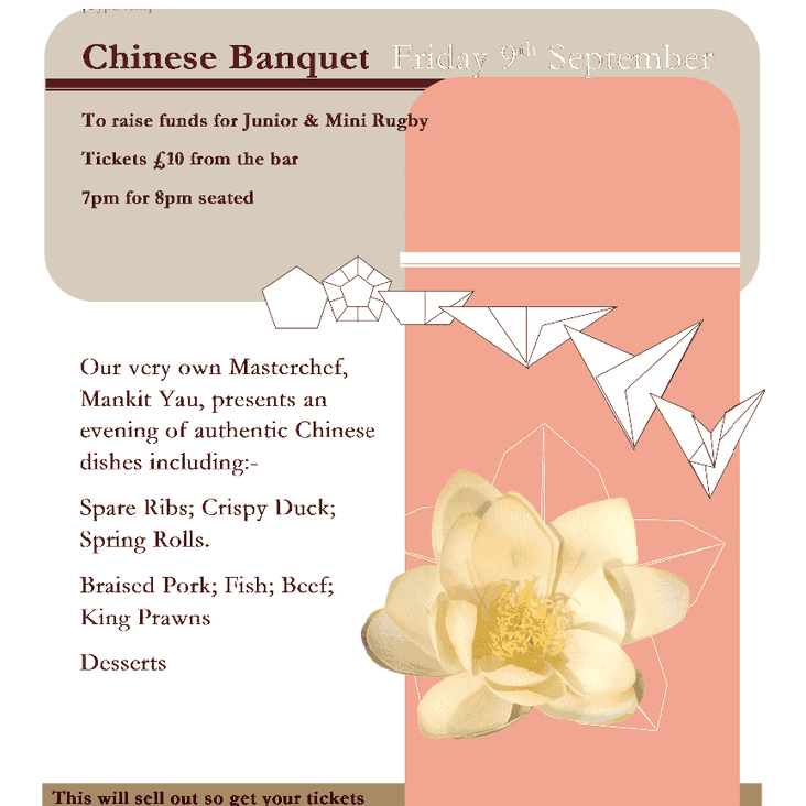 Chinese Banquet - last few tickets available