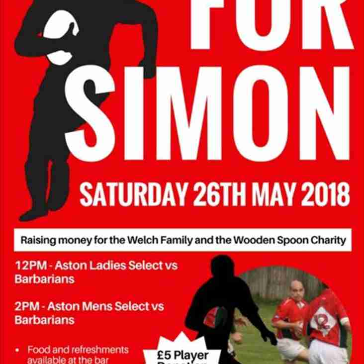 Simon Welch - Fundraiser - Saturday 26th May